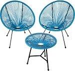 mesa e cadeiras jardim vime e aço