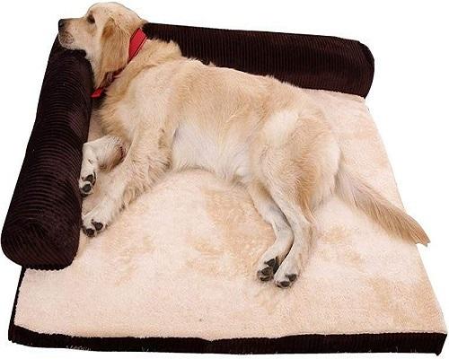 Cama de cão cama para cão animal de estimação, almofada macia em forma de L